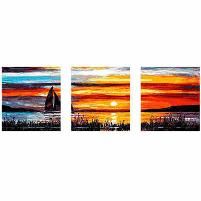 MMalen nach Zahlen Segelboot im Sonnenuntergang Tryptichon