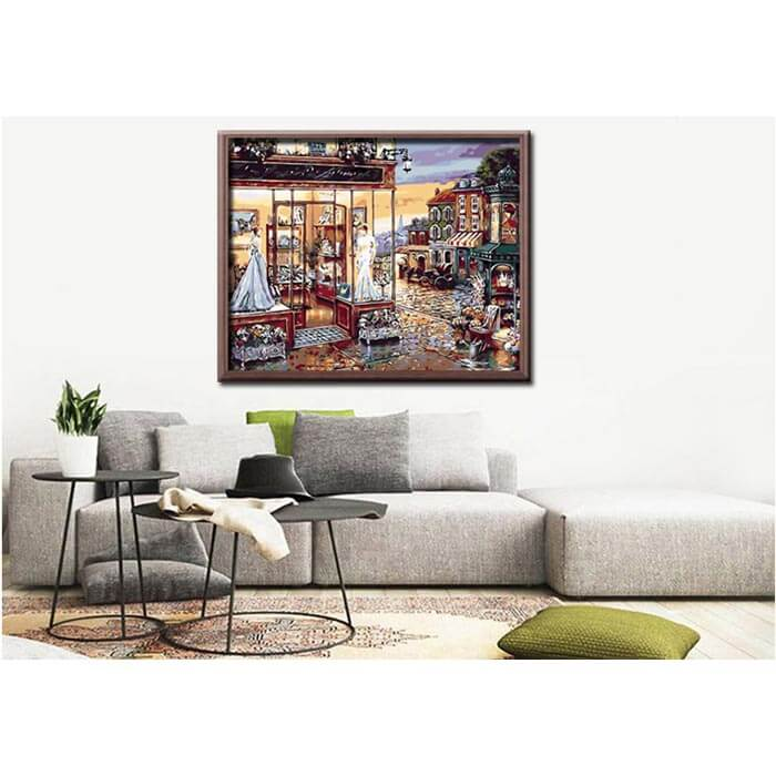Painting By numbers town scene