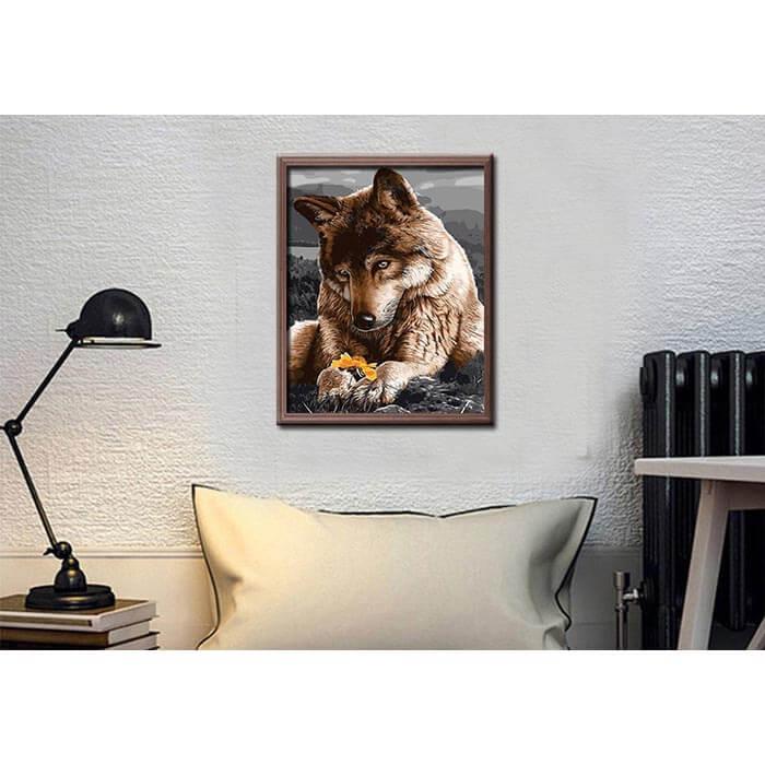 Malen nach Zahlen Bilder Liebevoller Wolfshund