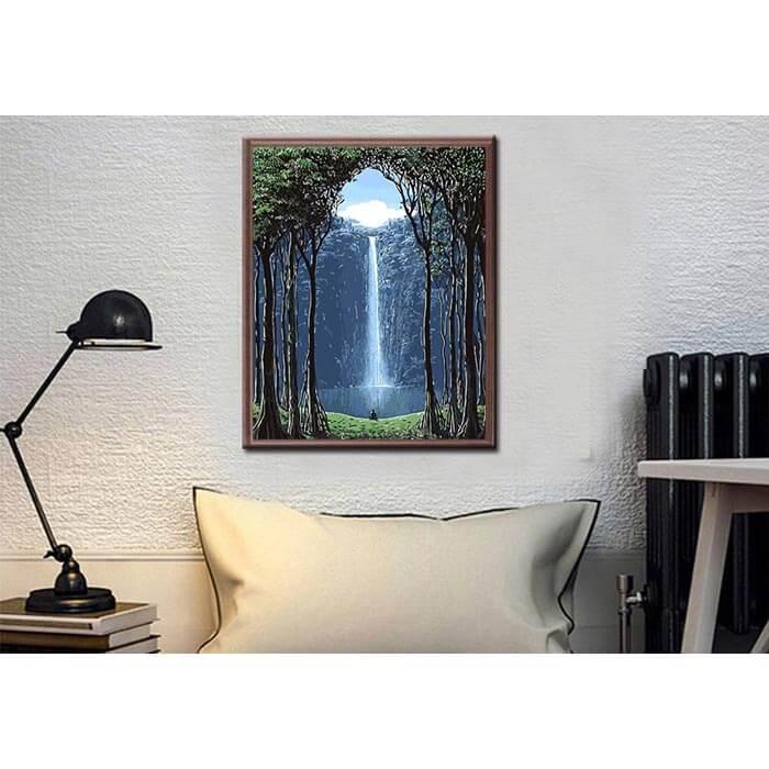 Malen nach Zahlen Bilder Wasserfall im Gebirge