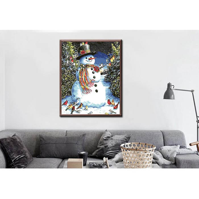 Painting by numbers snowman with birds