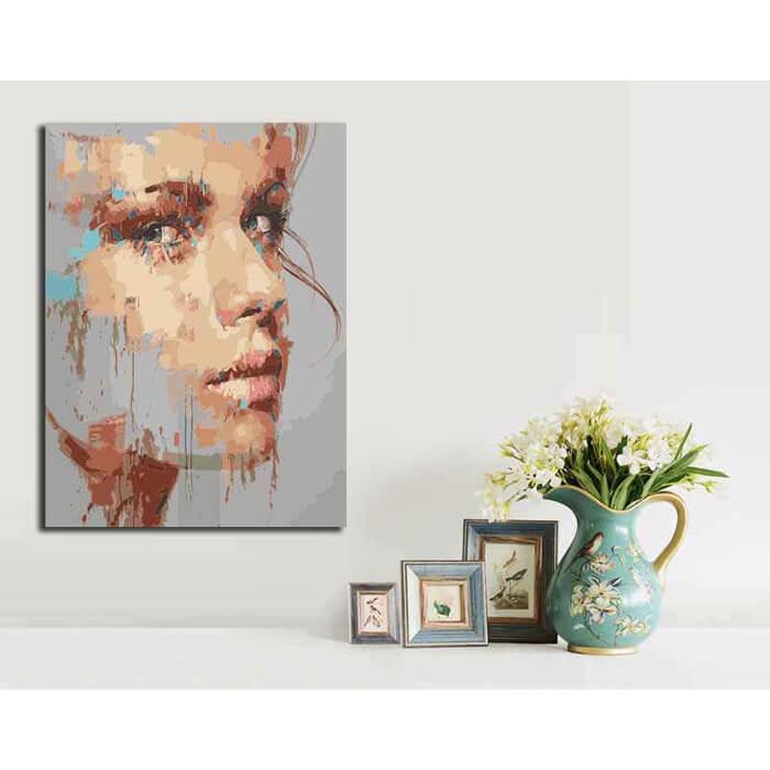Malen nach Zahlen Abstrakte Kunst Frau Gesicht Modern Art