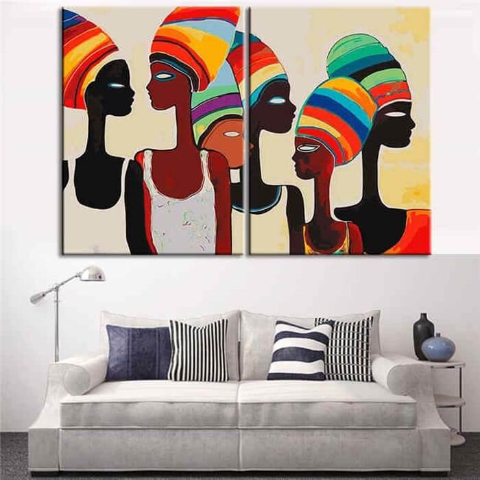 Malen nach Zahlen Afrika Frauen Moderne Kunst - 2-teilig (Triptychon)