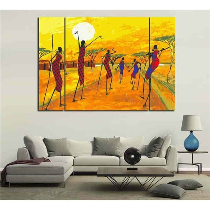 Painting by Numbers African Abstract Art - Village in Sunset 3 Panel