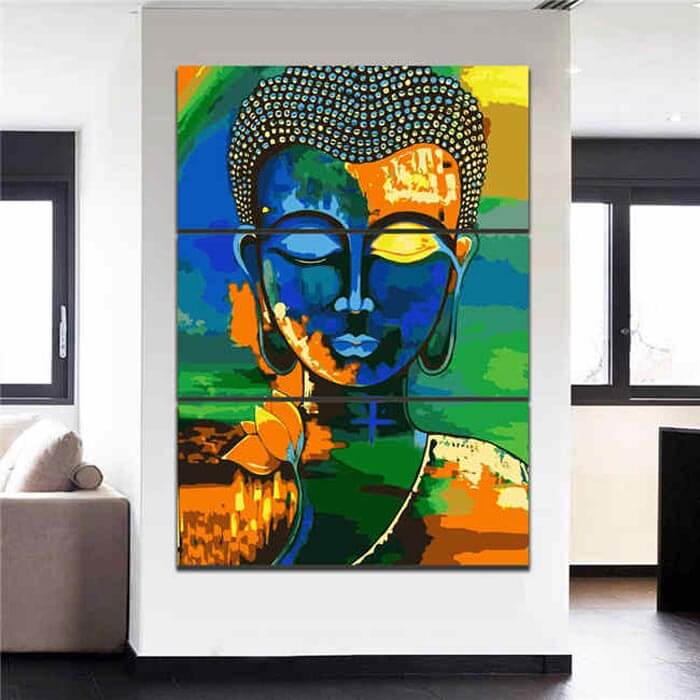 Painting by Numbers - Buddha in Meditation 3 Panel
