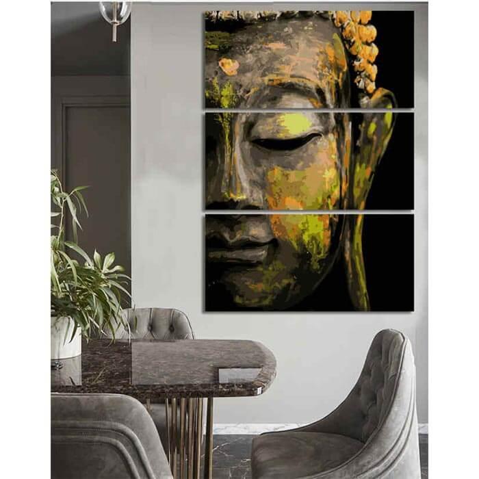 Malen nach Zahlen Schlafender Buddha Tradition - 3-teilig (Triptychon)