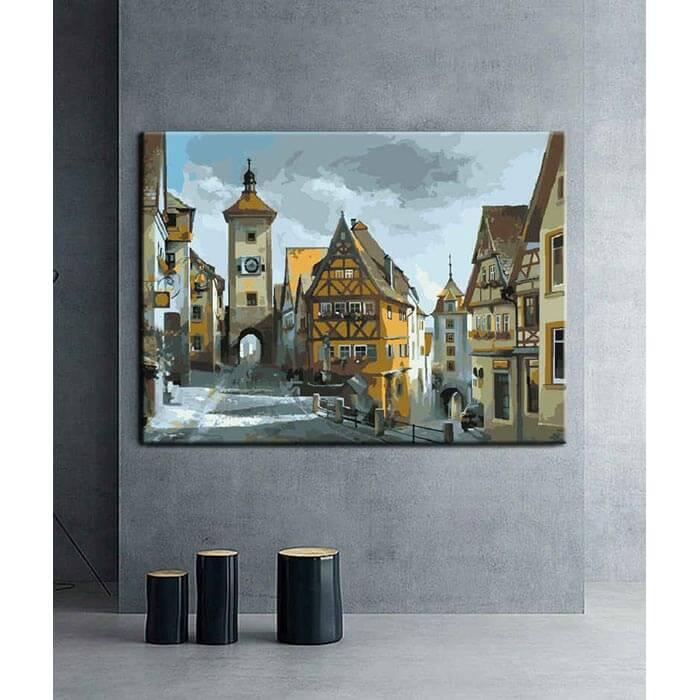 Malen nach Zahlen Altstadt Deutschland Rothenburg