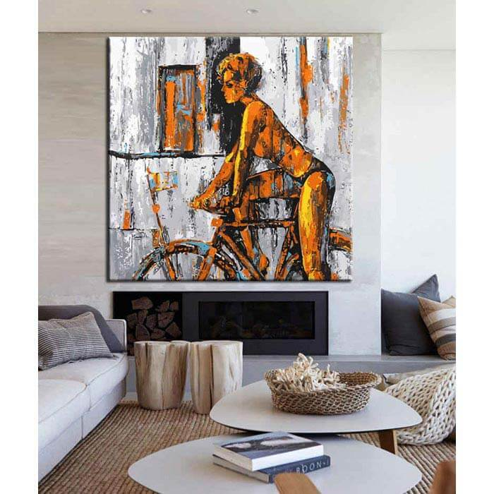 Painting by Numbers Modern Art Woman on bicycle