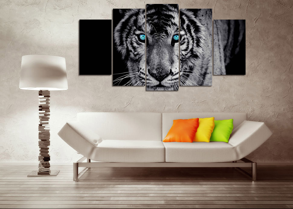 Black and White Tiger Animal Art