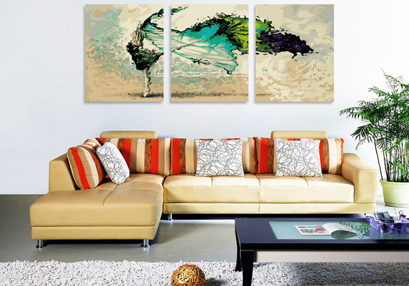 Paint by Numbers (Canvas) ballerina abstract triptych