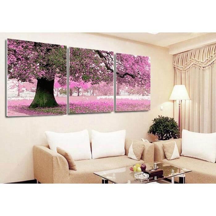 Malen nach Zahlen Kirschblütenbaum Triptychon