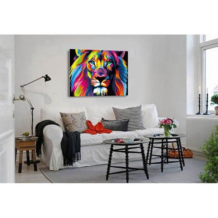 Painting by number lion head in rainbow colors
