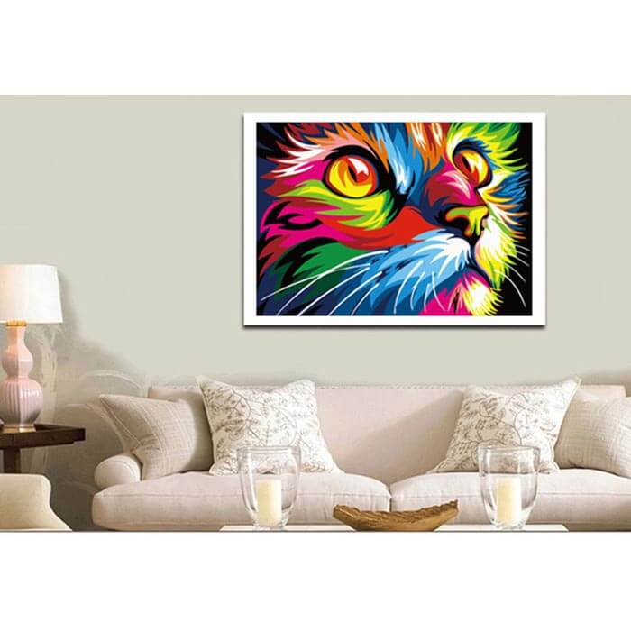 Painting by number cat head in rainbow colors