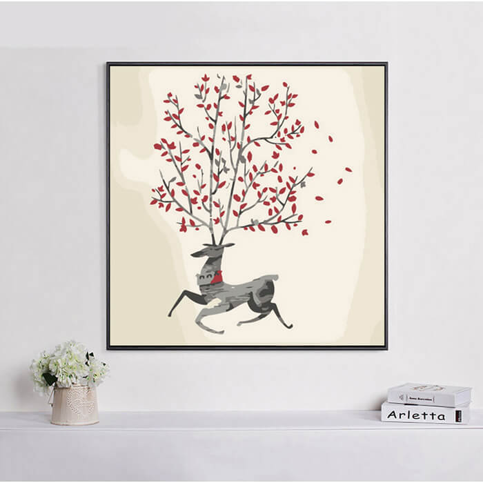 Painting by number moose art tree