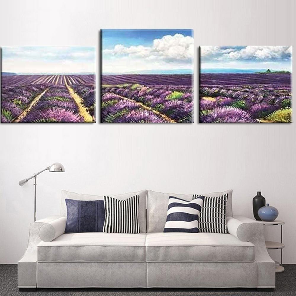Malen nach Zahlen Lavendelfeld - 3-teilig (Triptychon)