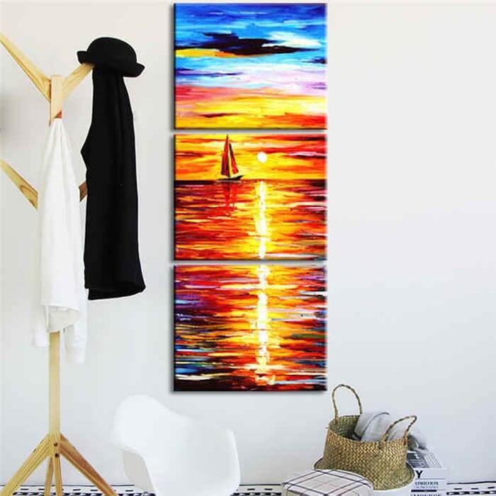 Malen nach Zahlen Sonnenaufgang Meer - 3-teilig (Triptychon)