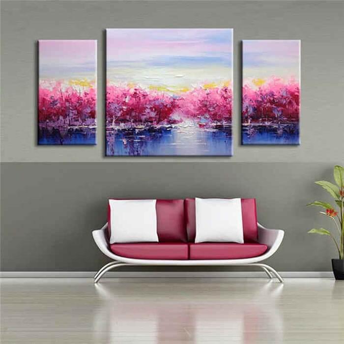 Malen nach Zahlen rosa Ufer - 3-teilig (Triptychon)