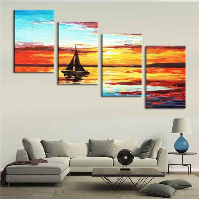 Painting by Numbers Sunrise at Sea - 4 Panel