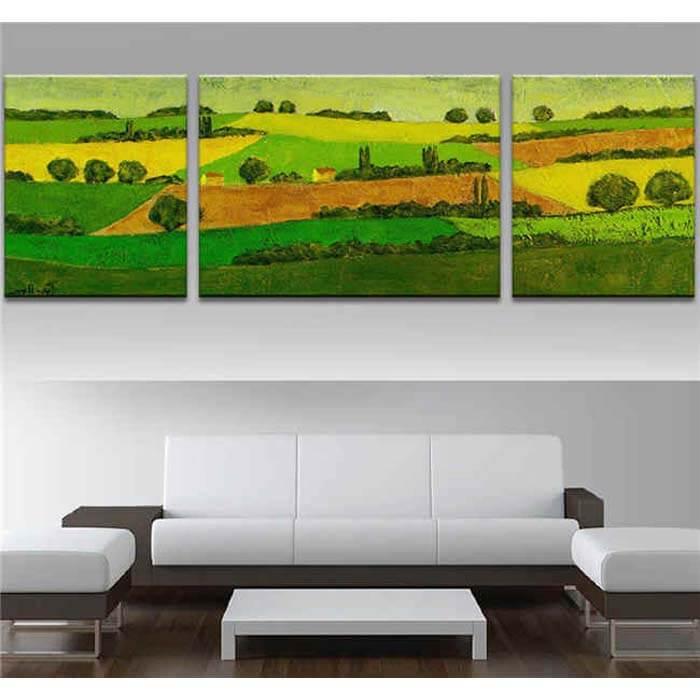 Malen nach Zahlen Landschaft Felder - 3-teilig (Triptychon)