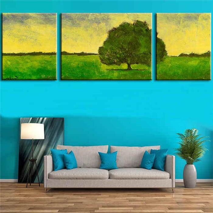Malen nach Zahlen markanter Baum - 3-teilig (Triptychon)