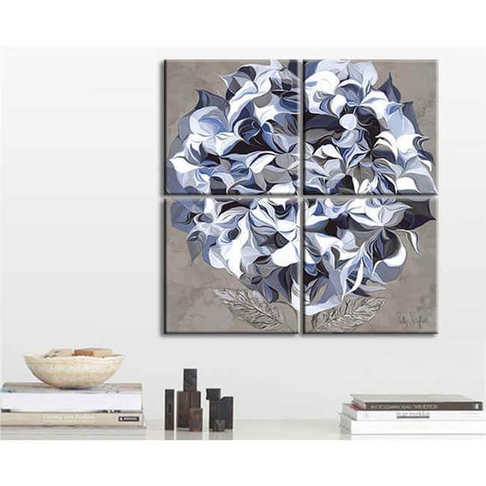 Malen nach Zahlen Quattro abstrakte Kunst Blume weiss