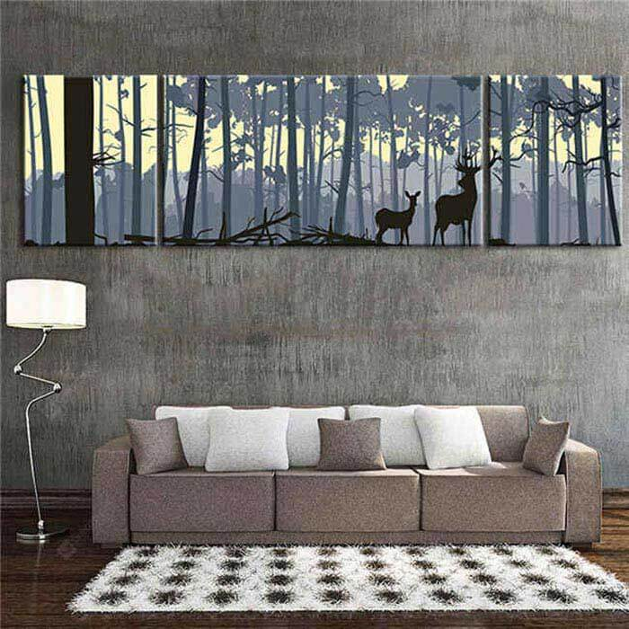 Painting by Numbers Deer in the forest - 3 Panel