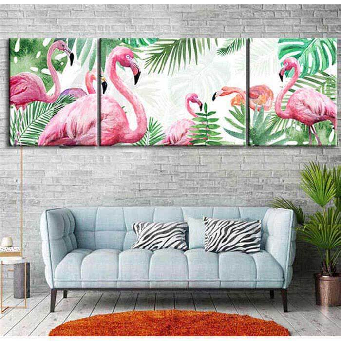 Painting by Numbers Flamingo family - 3 Panel