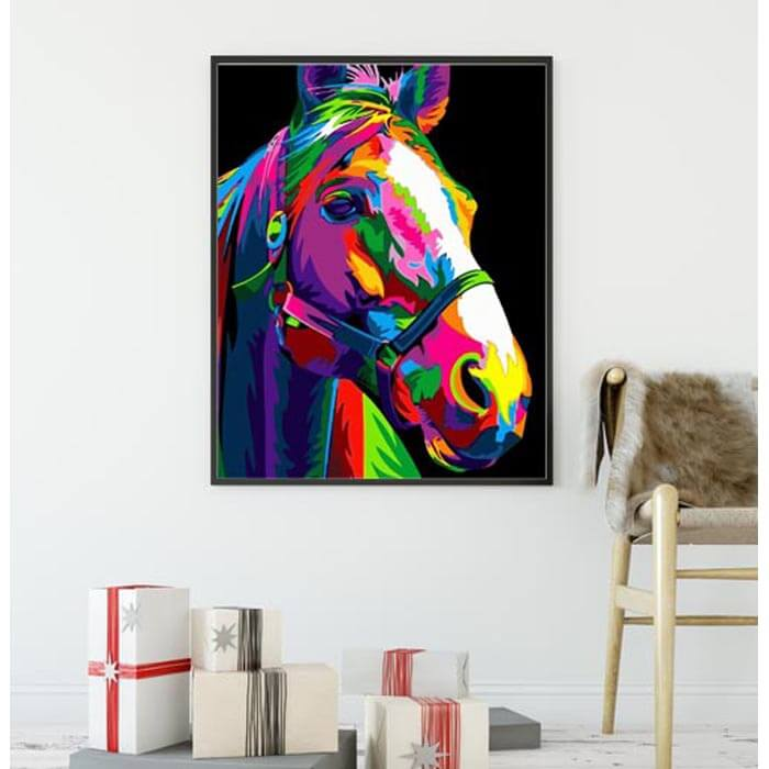 Painting by Numbers Horse Rainbow Colorful