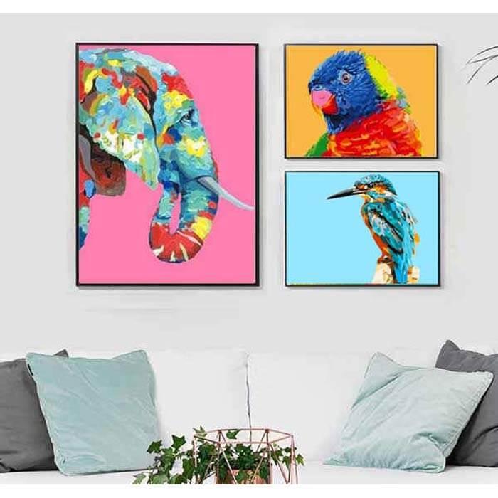 Malen nach Zahlen Elefant in Regenbogenfarben Tierkunst