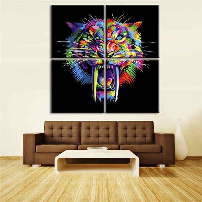 Malen nach Zahlen Tiger in Regenbogenfarben Tierkunst - 4-teilig (Triptychon)