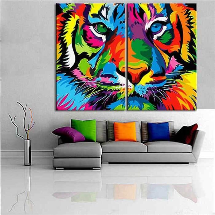 Malen nach Zahlen Tiger Portrait Tiere Tierkunst - 2-teilig (Triptychon)