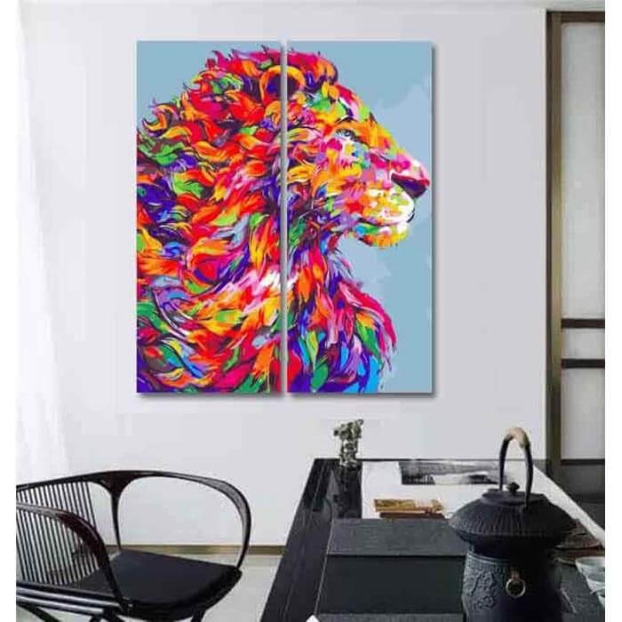 Malen nach Zahlen Löwe Tiere Moderne Tierkunst Malerei - 2-teilig (Triptychon)