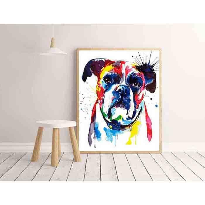 Malen Nach Zahlen Hund Bulldogge Tier Moderne Tierkunst