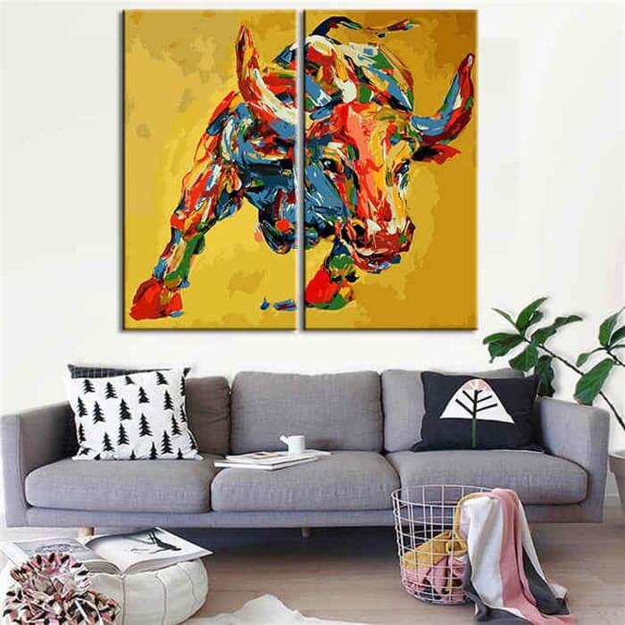 Malen nach Zahlen Großer Stier Porträt Moderne Tierkunst  - 2-teilig