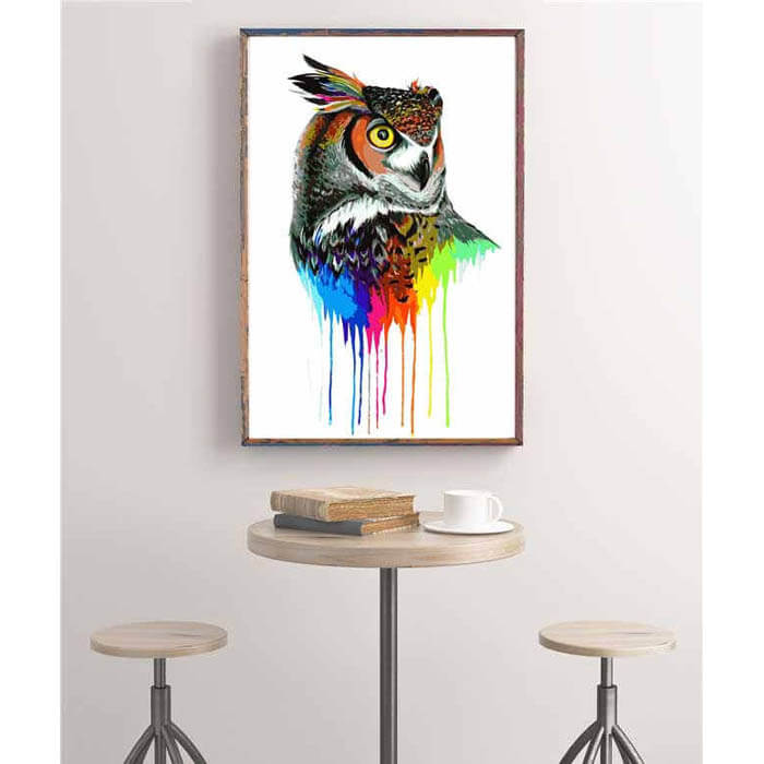 Painting by Numbers Coloured owl bird Modern animal art