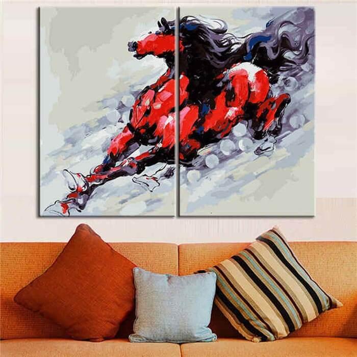 Malen nach Zahlen Rotes Pferd Moderne Tierkunst - 2-teilig