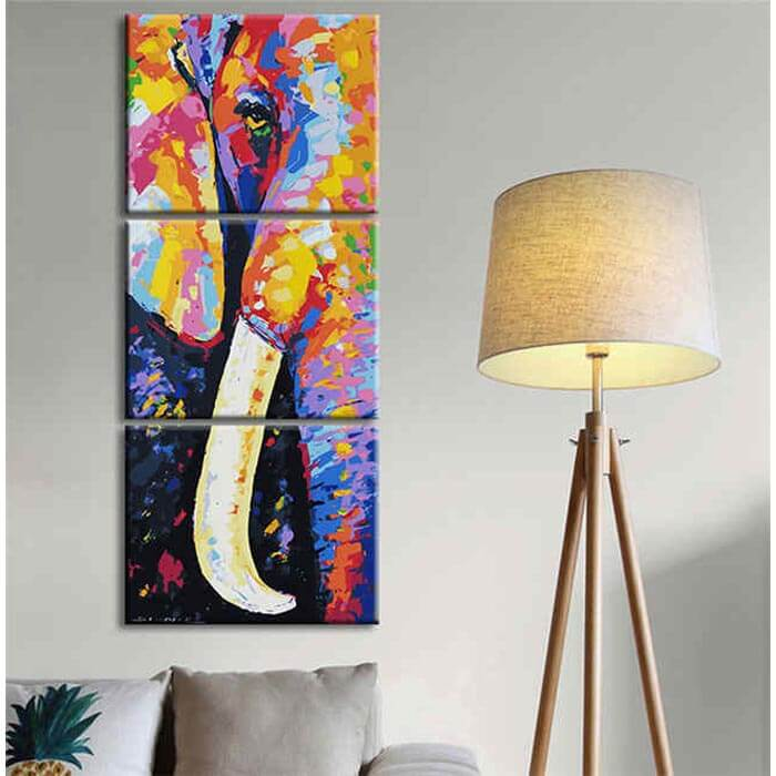 Painting by Numbers Elephant tusk Modern animal art - 3 Panel