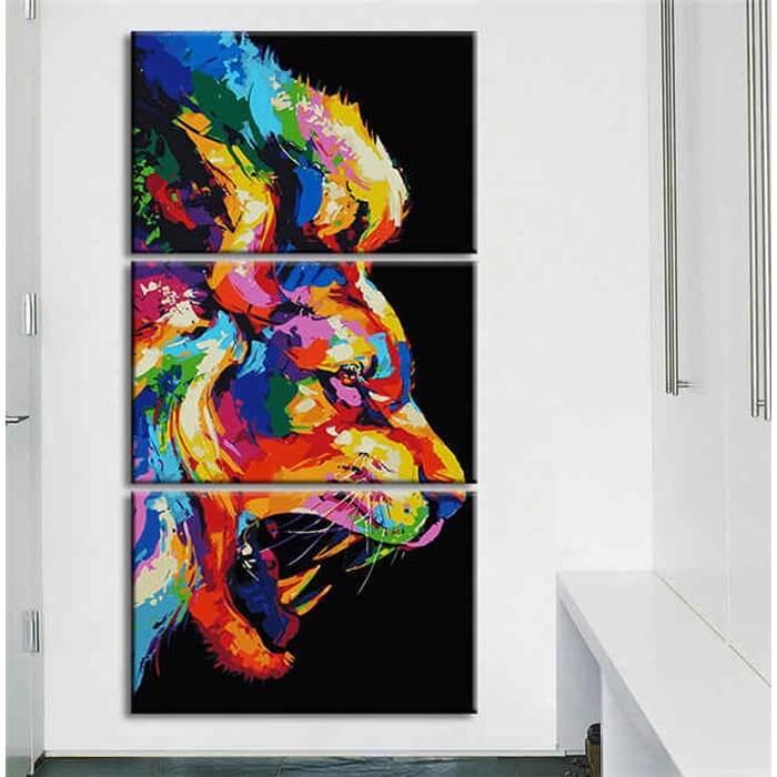 Malen nach Zahlen Brüllender Löwe Moderne Tierkunst - 3-teilig (Triptychon)