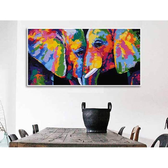 Malen nach Zahlen 2 Elefanten Moderne Tierkunst