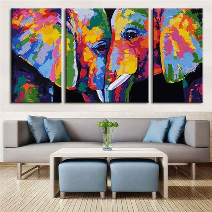 Painting according to numbers 2 elephants Modern animal art - 3 Panel