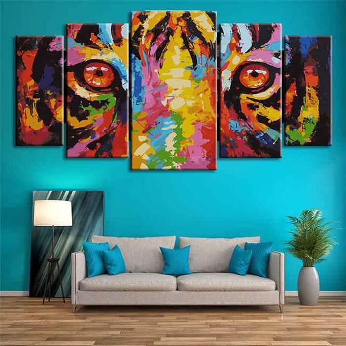 Malen nach Zahlen Tiger Augen Moderne Tierkunst - 5-teilig (Triptychon)