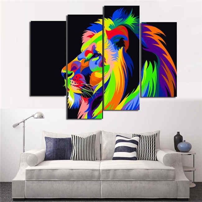 Malen nach Zahlen Löwe Spiegelung Kunst - 4-teilig (Triptychon)