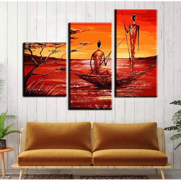 Malen nach Zahlen Triptychon Flußfahrt Afrika
