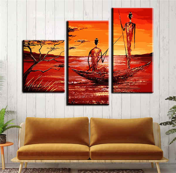 Paint by numbers triptych Africa