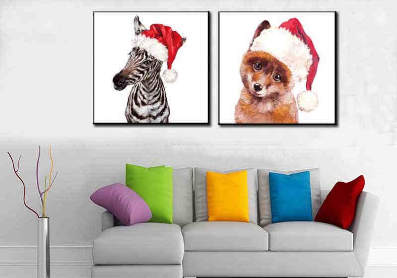 Malen nach Zahlen Zebra und Fuchs mit Nikolausmütze