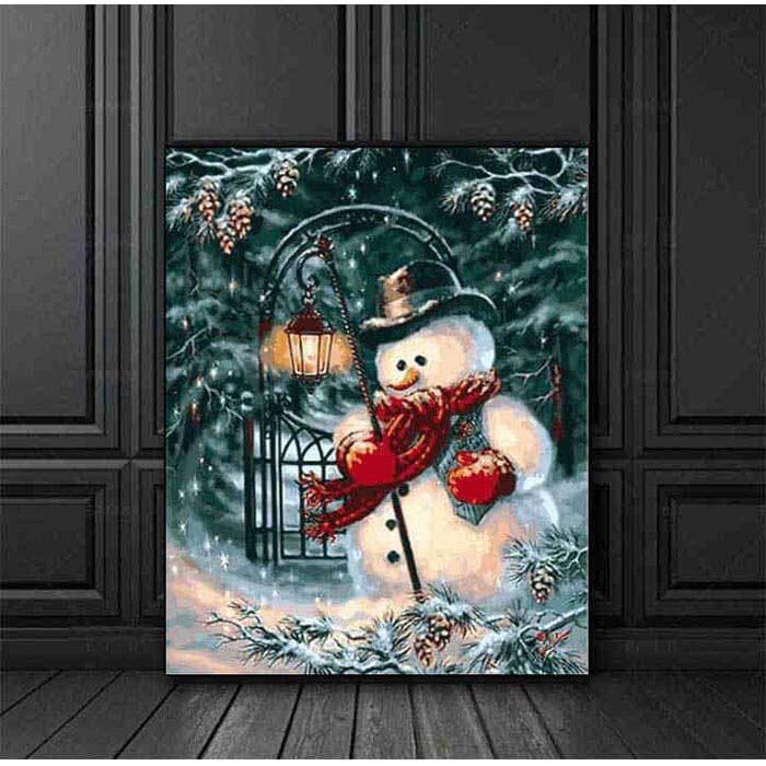 Paint by numbers snowman with lantern
