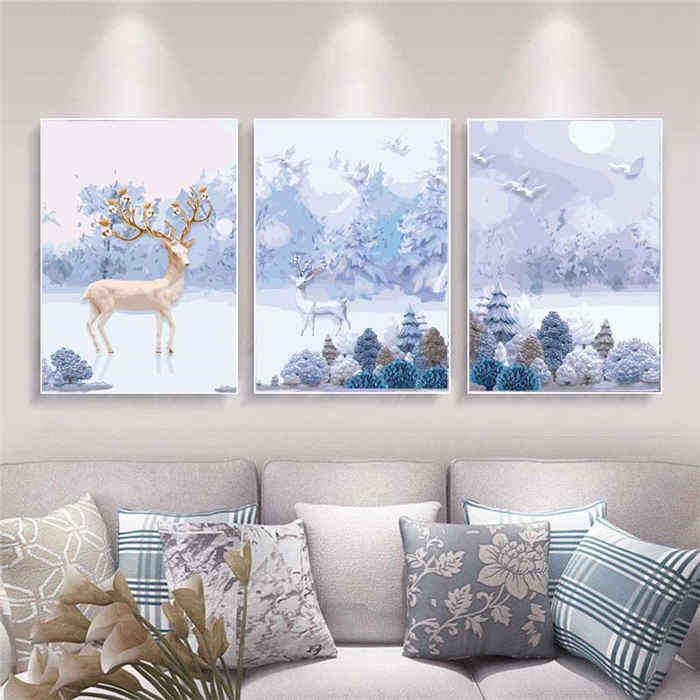 Malen nach Zahlen Winter Landschaft Triptychon