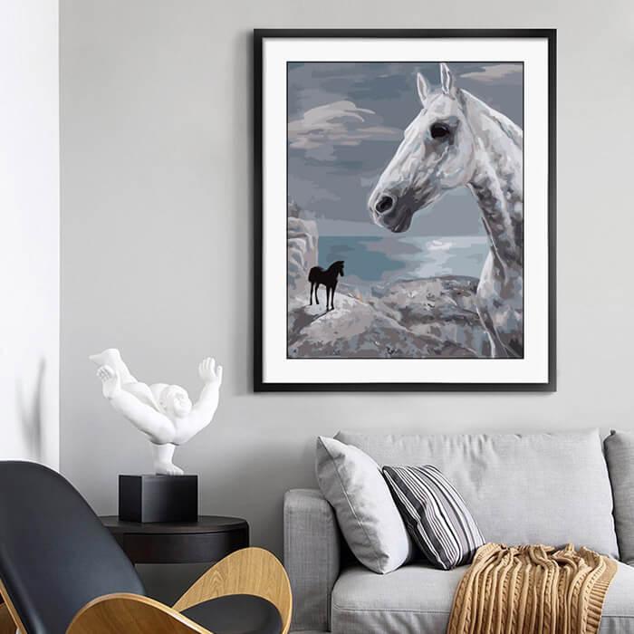 Malen nach Zahlen Pferde Schimmel in Erwartung