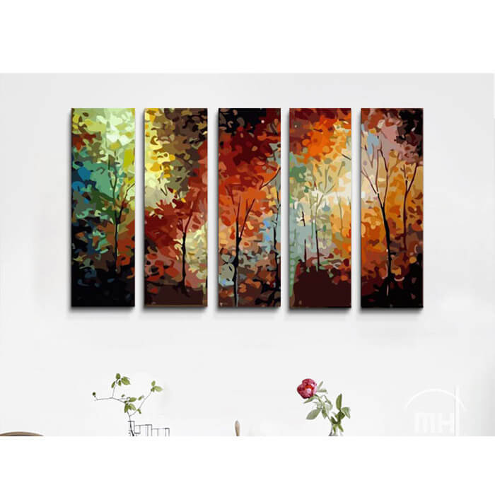 Paint by numbers colorful forest