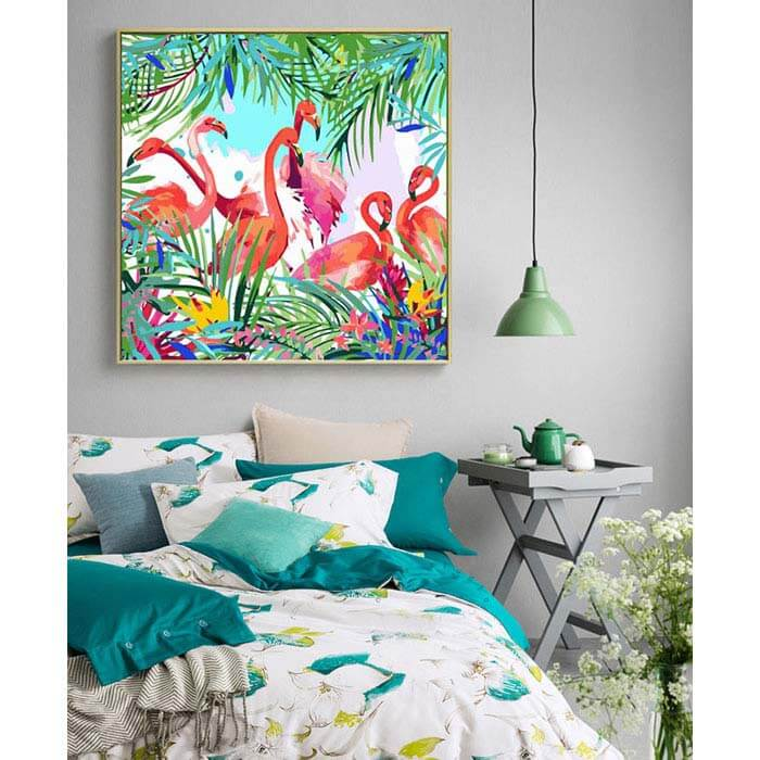 Paint by numbers flamingo family